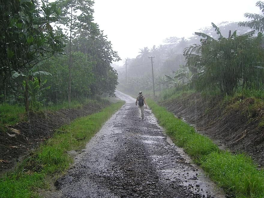 Man walking on dirt road in the rain.
