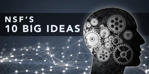 NSF's 10 Big Ideas and a graphic of multiple gears inside an outline of a head.