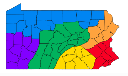 Map of Pennsylvania with counties, divided into six colored sections.