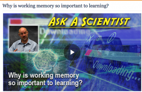 "Screenshot of the video with the words ""Why is working memory so important to learning?""."