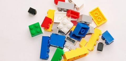 Photo of Legos in various sizes and colors.