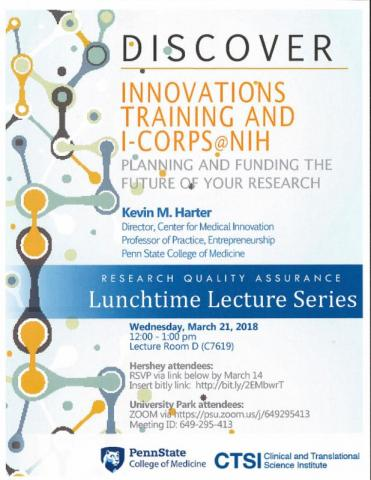 "A poster for ""Innovations Training and iCorps @ NIH: Planning and Funding the Future of Your Research"" with details as listed."