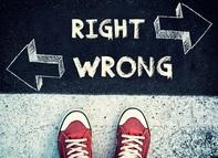 "Photo of children's shoes standing on a sidewalk with the words ""Right"" and ""Wrong"" and arrows pointing right and left."