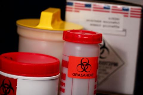 Photo of various containers for biohazardous materials.
